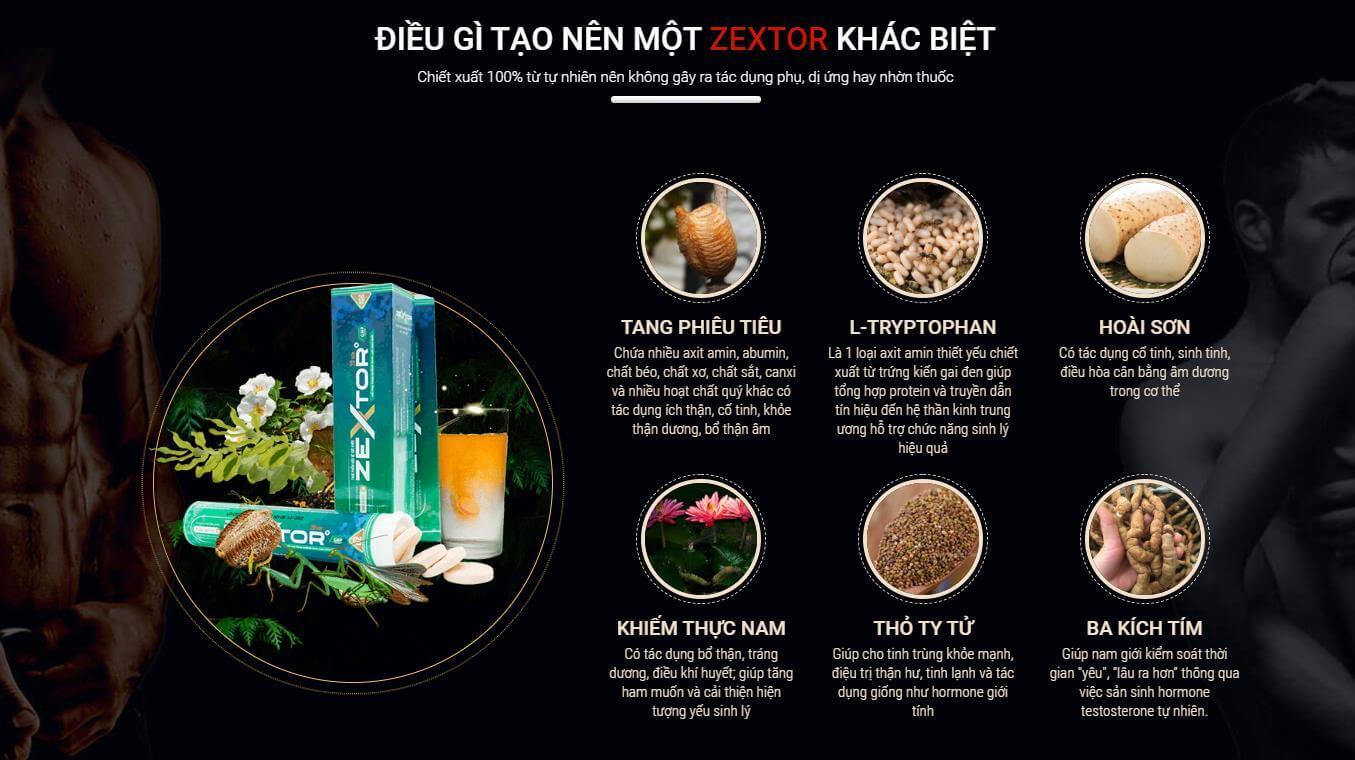 Thành phần Viên sủi tăng cường sinh lý Zextor