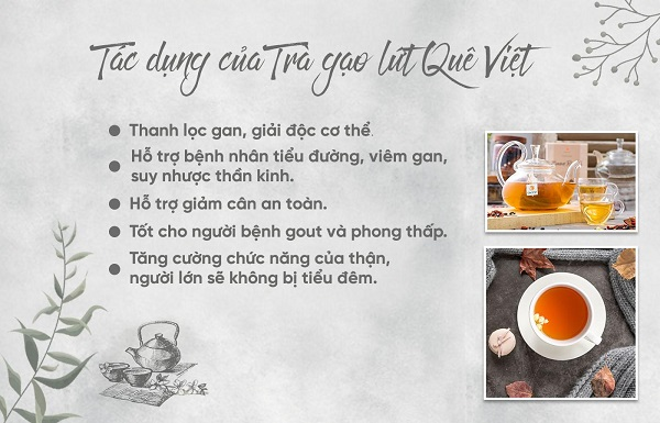 Tác dụng của trà gạo lứt Quê Việt