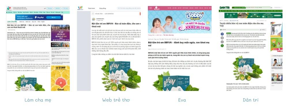 báo chí trong nước viết về sản phẩm bột tắm trẻ em Bbfun