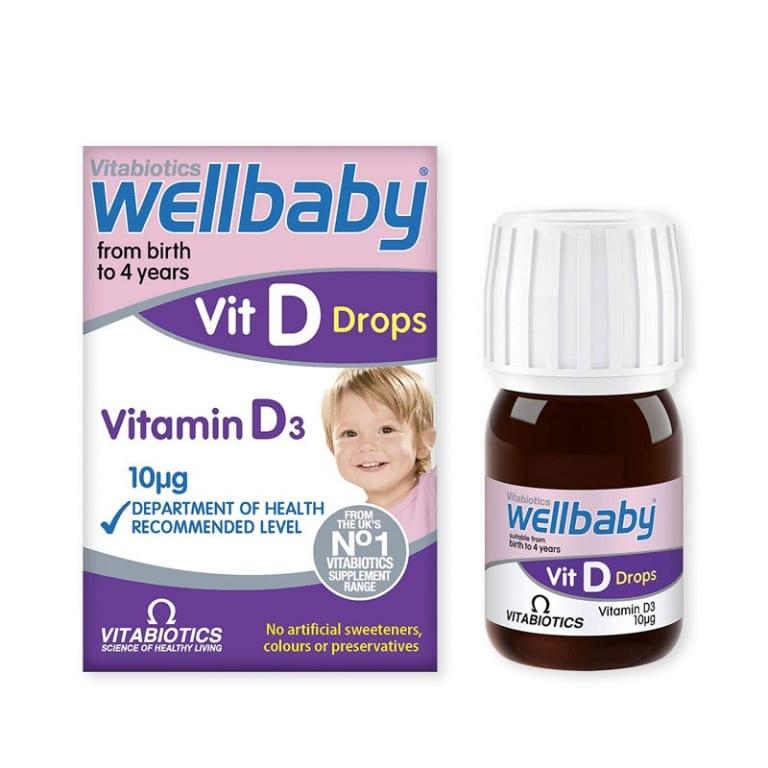 Vitabiotics Vitamin D cho bé 0 - 4 tuổi Wellbaby Vit D Drops 30ml