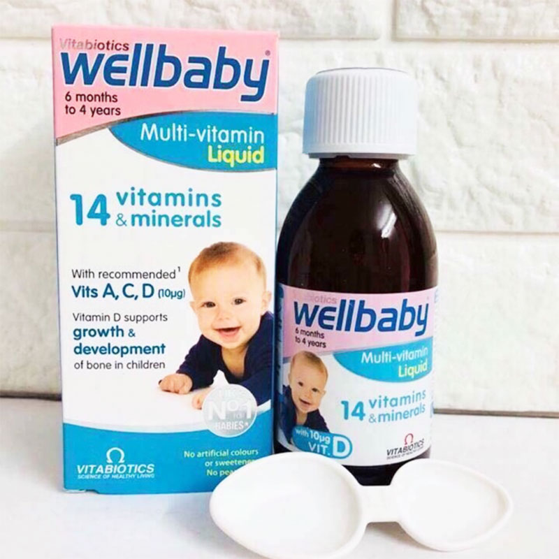 Vitabiotics Vitamin tổng hợp cho bé 6 tháng - 4 tuổi Wellbaby Multi-vitamin Liquid 150ml